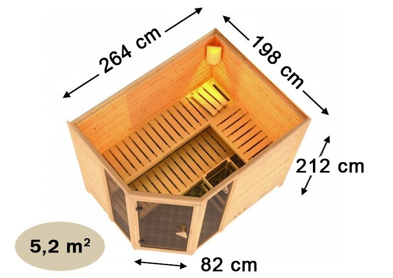 Karibu Heimsauna Sinai 3 (Eckeinstieg) Ofen 9 kW integr. Strg  Kein Kranz 40 mm Massivholzsauna