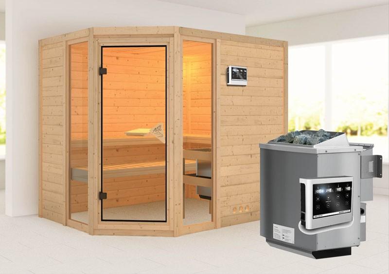 Karibu Heimsauna Sinai 3 (Eckeinstieg) Ofen 9 kW Bio externe Strg easy Kein Kranz 40 mm Massivholzsauna