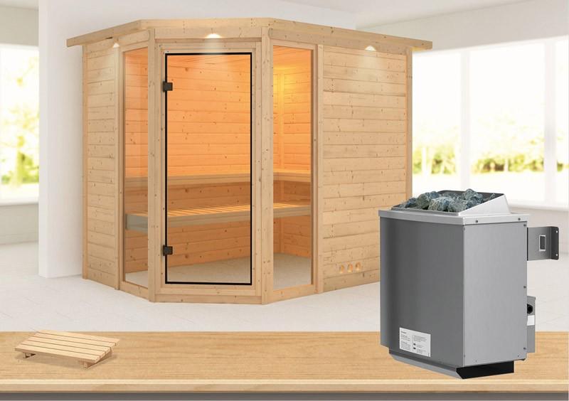 Karibu Heimsauna Sinai 3 (Eckeinstieg) Ofen 9 kW integr. Strg  mit Dachkranz 40 mm Massivholzsauna