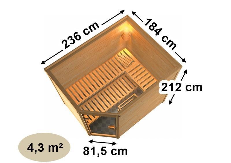 Karibu Heimsauna Tanami (Eckeinstieg) Ofen 9 kW integr. Strg  Kein Kranz 40 mm Massivholzsauna