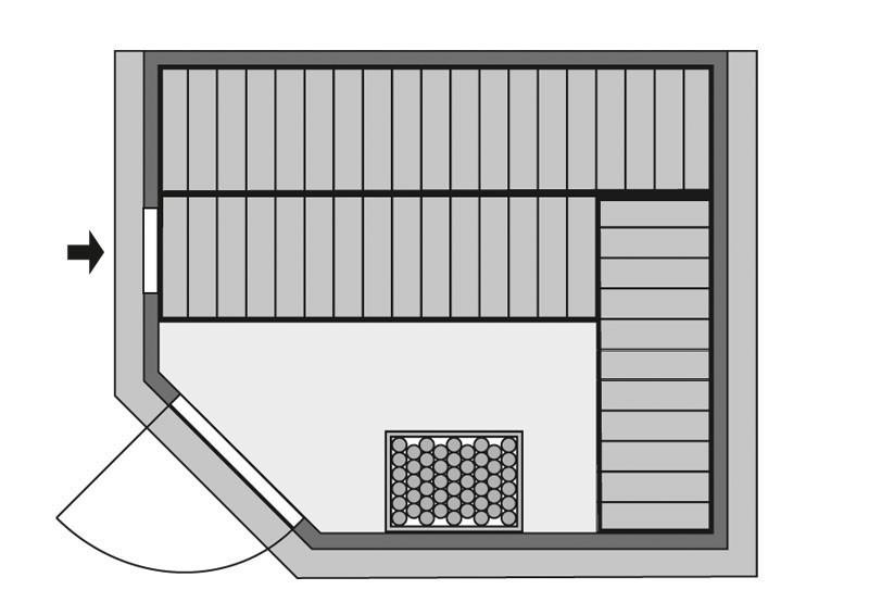 Karibu Heimsauna Tanami (Eckeinstieg) Ofen 9 KW externe Strg easy Kein Kranz 40 mm Massivholzsauna