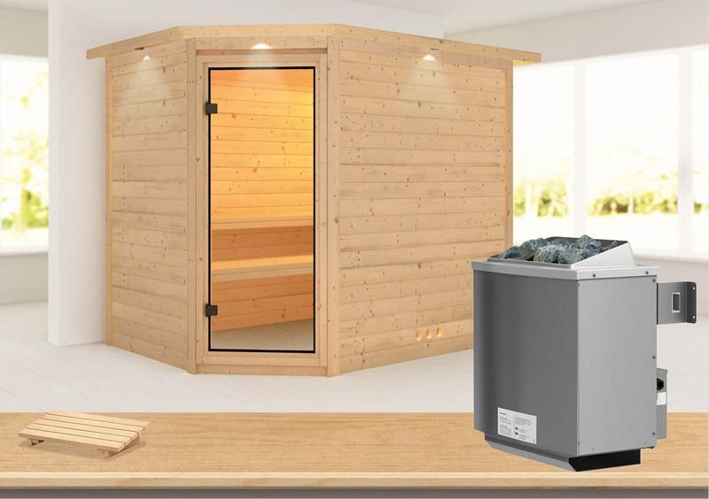 Karibu Heimsauna Tanami (Eckeinstieg) Ofen 9 kW integr. Strg  mit Dachkranz 40 mm Massivholzsauna