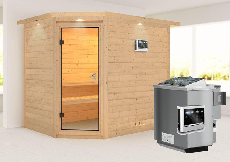 Karibu Heimsauna Tanami (Eckeinstieg) Ofen 9 kW Bio externe Strg easy mit Dachkranz 40 mm Massivholzsauna