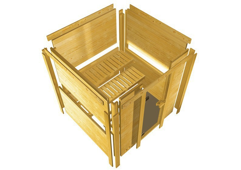 Karibu Heimsauna Sahib 1 (Eckeinstieg) Ofen 9 kW integr. Strg  Kein Kranz 40 mm Massivholzsauna