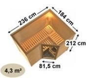 Karibu Heimsauna Sahib 2 (Eckeinstieg) Ofen 9 KW externe Strg easy mit Dachkranz 40 mm Massivholzsauna