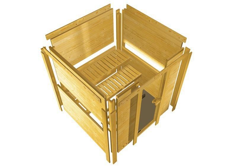 Karibu Heimsauna Cortona (Eckeinstieg) Ofen 9 KW externe Strg easy mit Dachkranz 40 mm Massivholzsauna