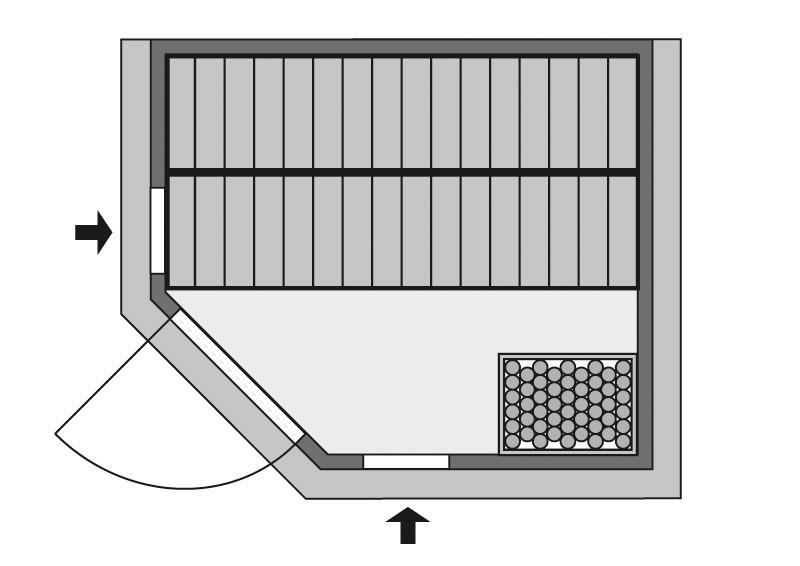 Karibu Heimsauna Cortona (Eckeinstieg) Ofen 9 kW Bio externe Strg easy mit Dachkranz 40 mm Massivholzsauna