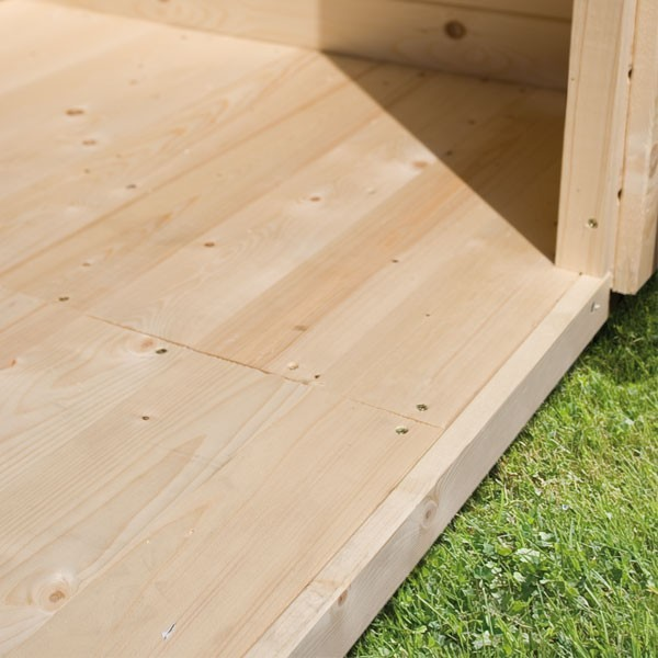 Karibu Holz-Gartenhaus Pirion 5 Satteldach 40 mm Massiv - natur