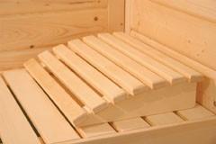 Karibu Heimsauna Riona (Eckeinstieg)  Ofen 9 KW externe Strg easy mit Dachkranz 40 mm Massivholzsauna