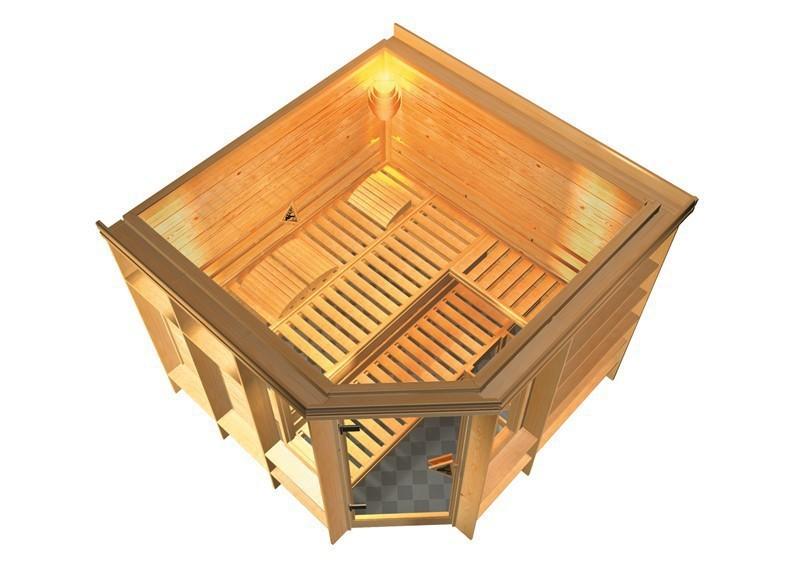 Karibu Heimsauna Marona (Eckeinstieg) Ofen 9 kW integr. Strg  mit Dachkranz 40 mm Massivholzsauna