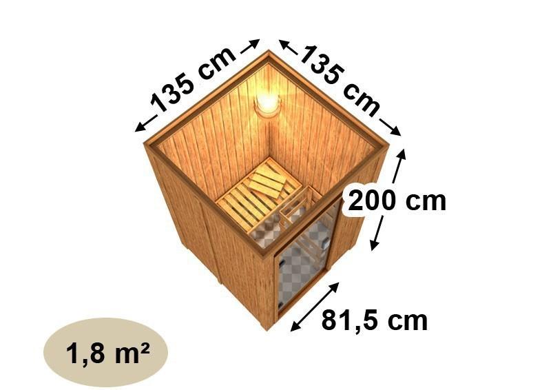 Karibu Heimsauna Lenja( Fronteinstieg) Ofen 3,6 kW externe Strg.modern mit Dachkranz Plug & Play 230Volt Sauna