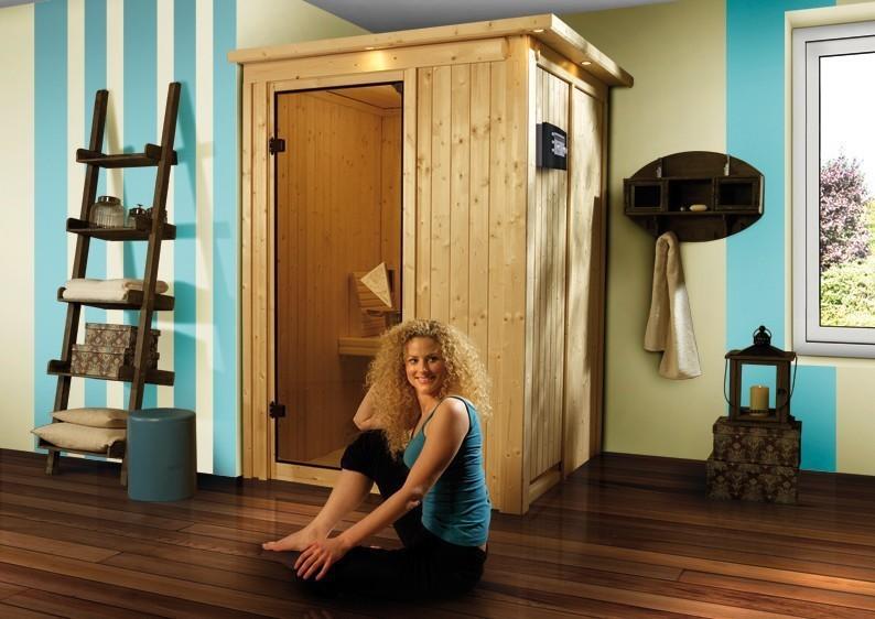 Karibu Heimsauna Lenja( Fronteinstieg) Ofen 3,6 kW Bio-Ofen externe Strg. modern mit Dachkranz Plug & Play 230Volt Sauna