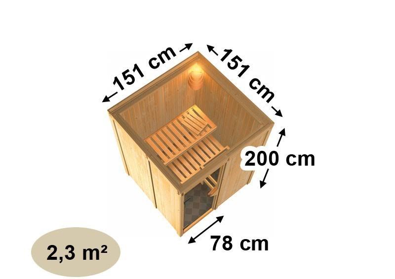 Karibu Heimsauna Minja ( Fronteinstieg)  Ofen 3,6 kW intgr. Strg   Kein Kranz Plug & Play 230Volt Sauna