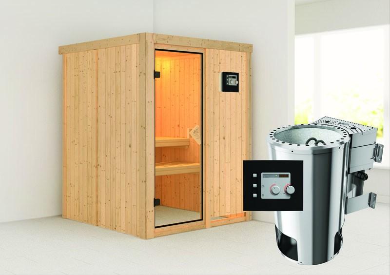 Karibu Heimsauna Minja ( Fronteinstieg)  Ofen 3,6 kW Bio-Ofen externe Strg. modern Kein Kranz Plug & Play 230Volt Sauna