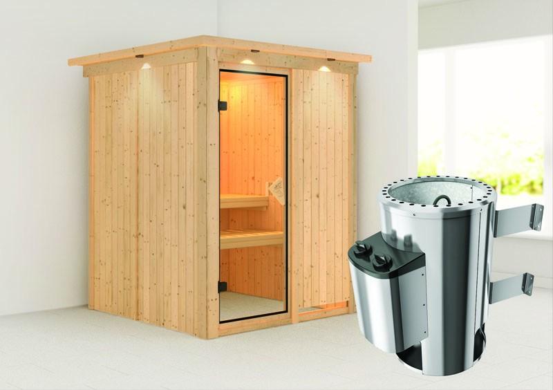 Karibu Heimsauna Minja ( Fronteinstieg)  Ofen 3,6 kW intgr. Strg   mit Dachkranz Plug & Play 230Volt Sauna