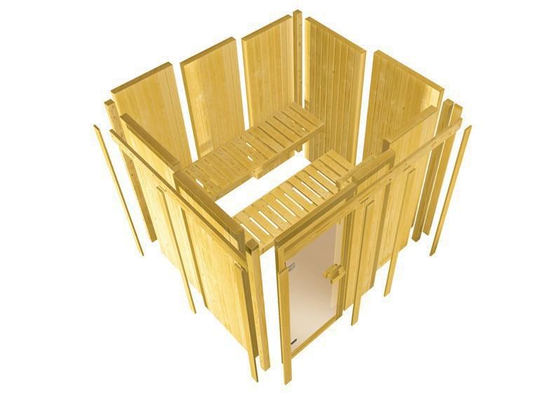 Karibu Heimsauna Minja ( Fronteinstieg)  Ofen 3,6 kW Bio-Ofen externe Strg. modern mit Dachkranz Plug & Play 230Volt Sauna