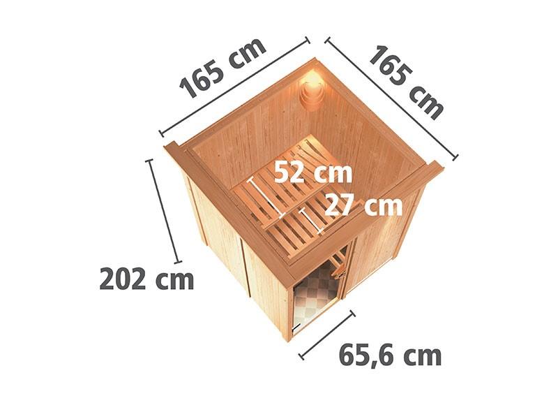 Karibu 68mm Systemsauna Minja - Plug&Play - Fronteinstieg - Ganzglastür bronziert - mit Dachkranz - 3,6kW Plug&Play Bio-Kombiofen mit externer Steuerung Easy Bio