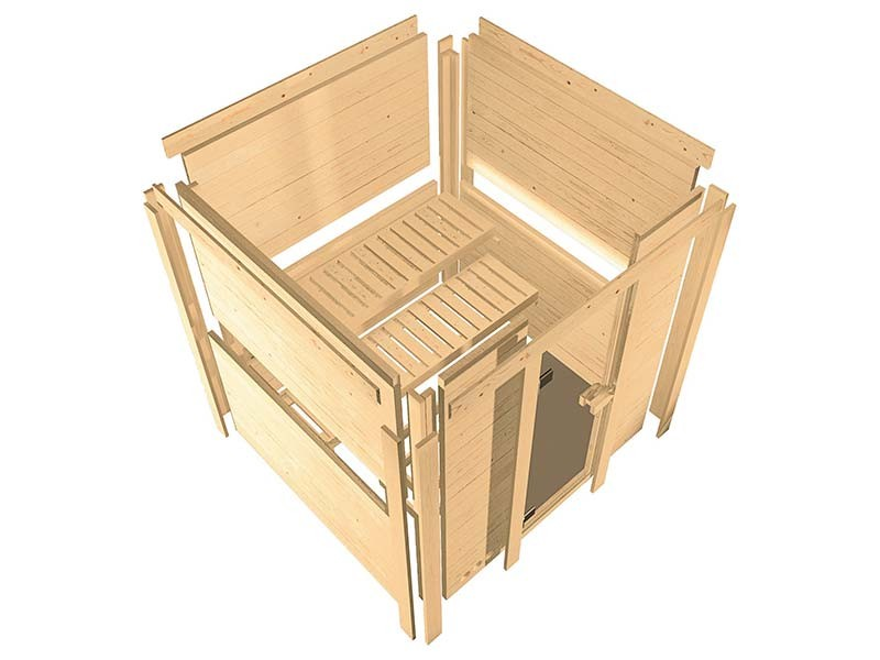 Karibu 68mm Systemsauna Nanja - Plug&Play - Eckeinstieg - Ganzglastür bronziert - ohne Dachkranz - 3,6kW Plug&Play Saunaofen mit externer Steuerung Easy