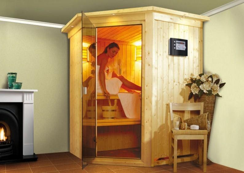 Karibu Heimsauna Nanja ( Eckeinstieg) Ofen 3,6 kW Bio-Ofen externe Strg. modern Kein Kranz Plug & Play 230Volt Sauna