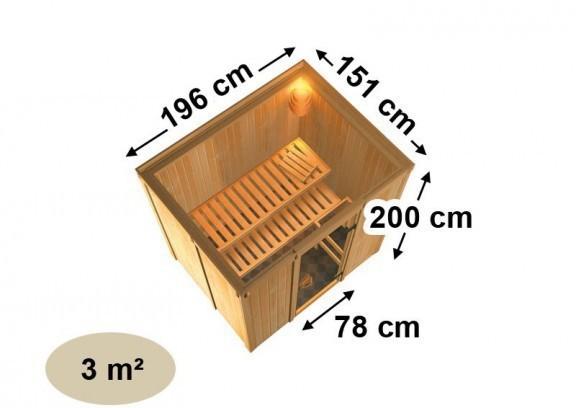 Karibu Heimsauna Fanja (Fronteinstieg)   Ofen 3,6 kW intgr. Strg   mit Dachkranz Plug & Play 230Volt Sauna