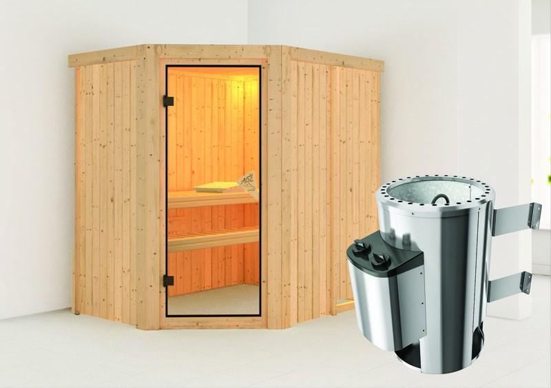 Karibu Heimsauna Saja (Eckeinstieg) Ofen 3,6 kW intgr. Strg   Kein Kranz Plug & Play 230Volt Sauna