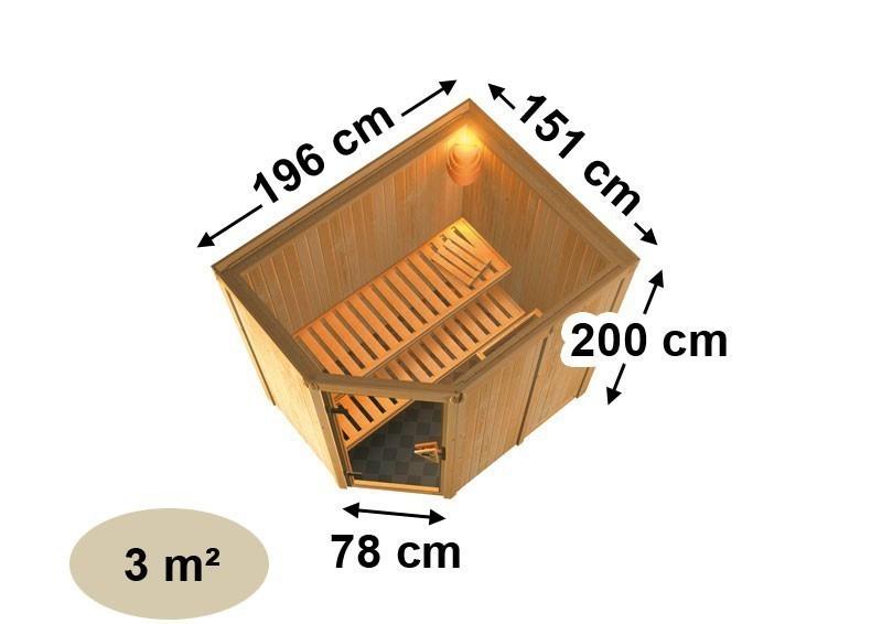 Karibu Heimsauna Saja (Eckeinstieg) Ofen 3,6 kW externe Strg.modern Kein Kranz Plug & Play 230Volt Sauna