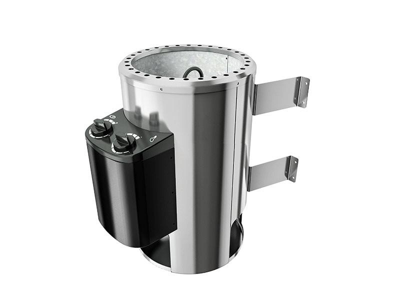 Karibu 68mm Systemsauna Saja - Plug&Play - Eckeinstieg - Ganzglastür bronziert - mit Dachkranz - 3,6kW Plug&Play Saunaofen mit integr. Steuerung