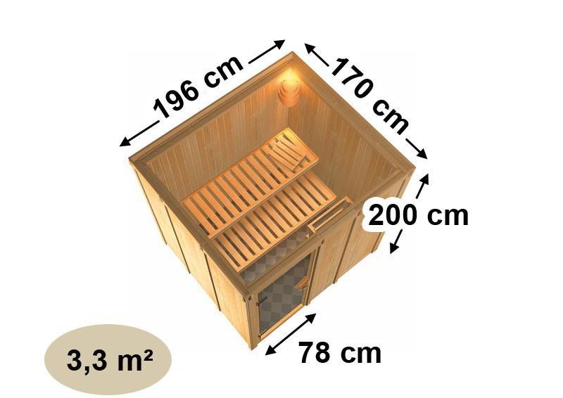 Karibu Heimsauna Daria (Fronteinstieg)   Ofen 3,6 kW externe Strg.modern 210*184*202 cm Plug & Play 230Volt Sauna