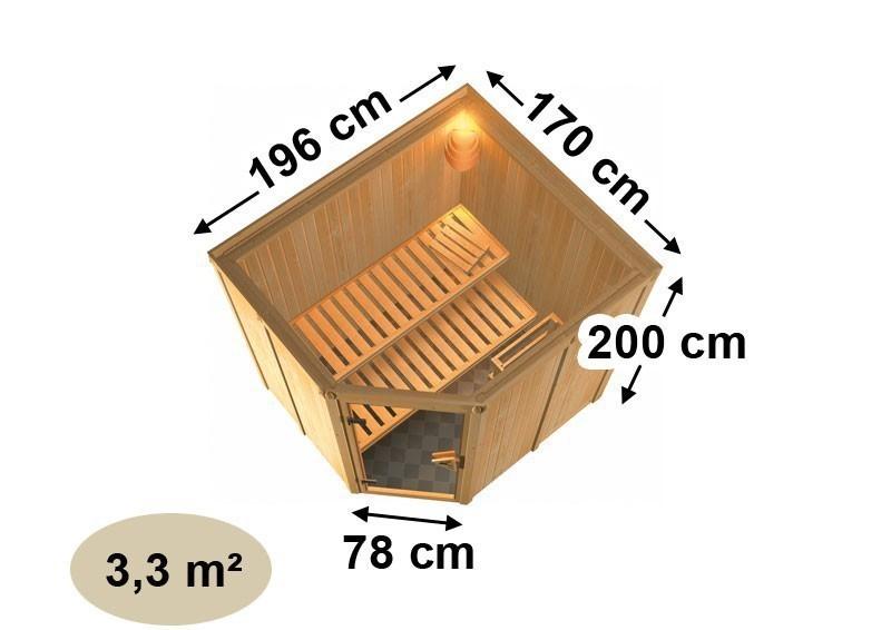 Karibu Heimsauna Lilja (Eckeinstieg) Ofen 3,6 kW Bio-Ofen externe Strg. modern mit Dachkranz Plug & Play 230Volt Sauna