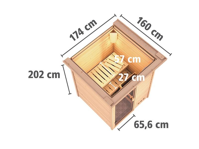 Karibu 38mm Massivholzsauna Nadja - Plug&Play - Fronteinstieg - Ganzglastür bronziert - mit Dachkranz - 3,6kW Plug&Play Saunaofen mit integr. Steuerung