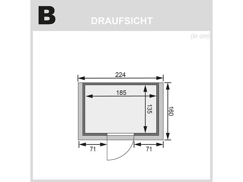 Karibu 38mm Massivholzsauna Ronja - Plug&Play - Fronteinstieg - Ganzglastür bronziert - mit Dachkranz - 3,6kW Plug&Play Saunaofen mit externer Steuerung Easy