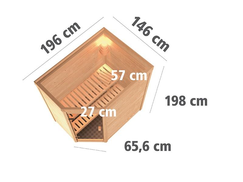 Karibu 38mm Massivholzsauna Cilja - Plug&Play - Eckeinstieg - Ganzglastür bronziert - ohne Dachkranz - 3,6kW Plug&Play Bio-Kombiofen mit externer Steuerung Easy Bio