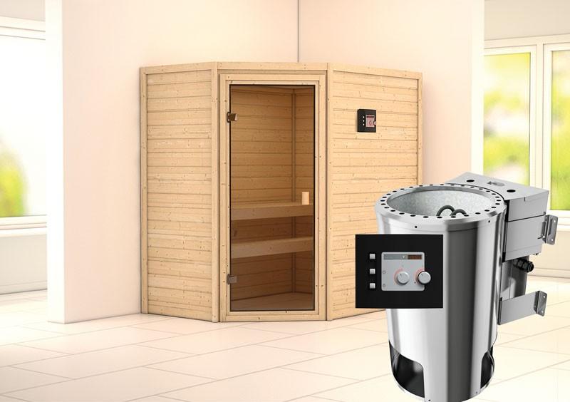 Karibu Heimsauna Cilja (Eckeinstieg) Ofen 3,6 kW Bio-Ofen externe Strg. modern Kein Kranz Plug & Play 230Volt Sauna