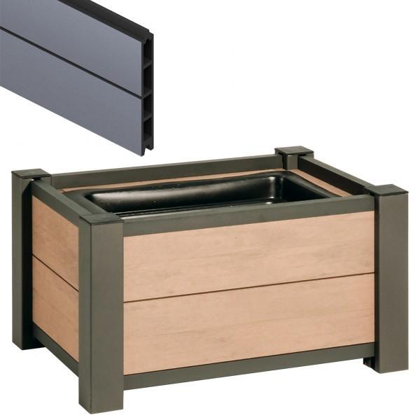 TraumGarten Pflanzkasten System WPC Set anthrazit - 72 x 52 cm
