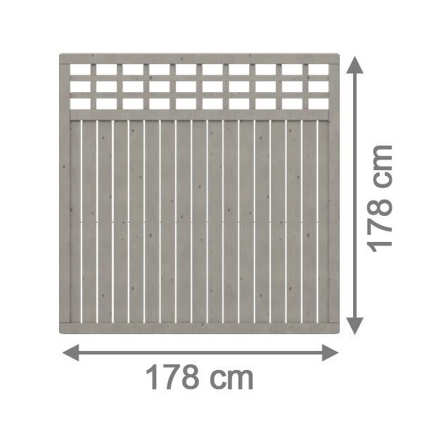 TraumGarten Sichtschutzzaun Nadelholz Como Rechteck mit Gitter grau lasiert - 178 x 178 cm