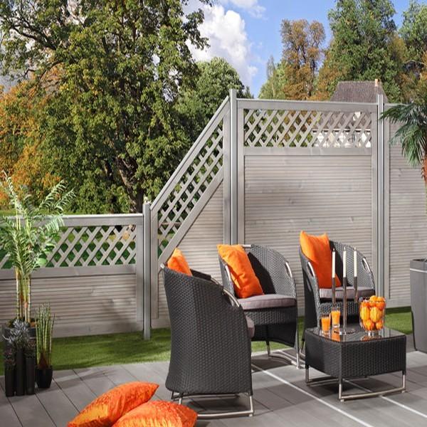 TraumGarten Sichtschutzzaun Nadelholz Arzago Anschluss mit Gitter grau lasiert - 90 x 179 auf 90 cm