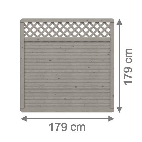 TraumGarten Sichtschutzzaun Nadelholz Arzago Rechteck mit Gitter grau lasiert - 179 x 179 cm