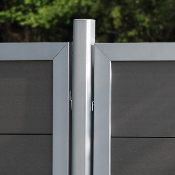 TraumGarten Sichtschutzzaun Design WPC Aluminium Anschluss anthrazit 90 x 180 auf 90 cm