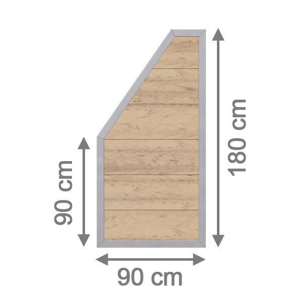 TraumGarten Sichtschutzzaun Design WPC Aluminium Anschluss sand 90 x 180 auf 90 cm