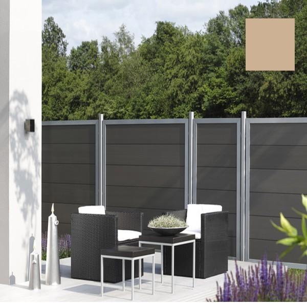 TraumGarten Sichtschutzzaun Design WPC Aluminium Rechteck sand 180 x 180cm