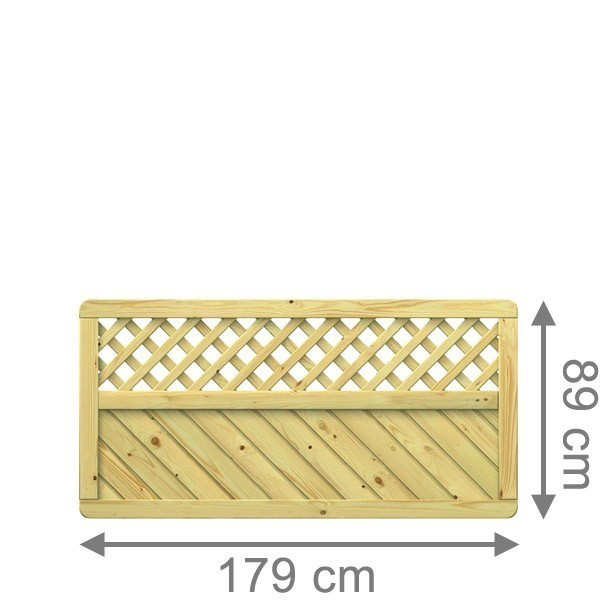 TraumGarten Sichtschutzzaun Holzzaun Gada Rechteck mit Gitter kdi - 179 x 89 cm