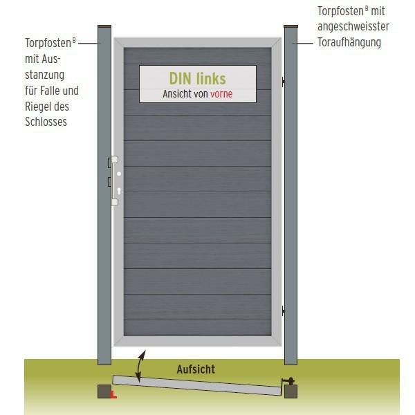TraumGarten Gartentor Design WPC Aluminium sand DIN rechts 98 x 180cm
