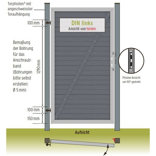 TraumGarten Sichtschutzzaun Design WPC Alu Tor sand DIN rechts - 98 x 180cm