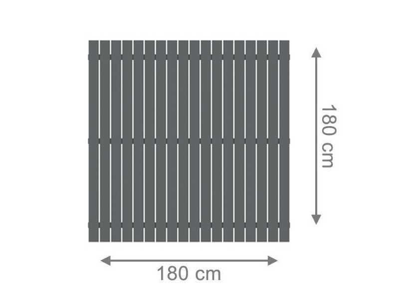 TraumGarten Sichtschutzzaun Aluminium Squadra Rechteck anthrazit - 180 x 180 cm