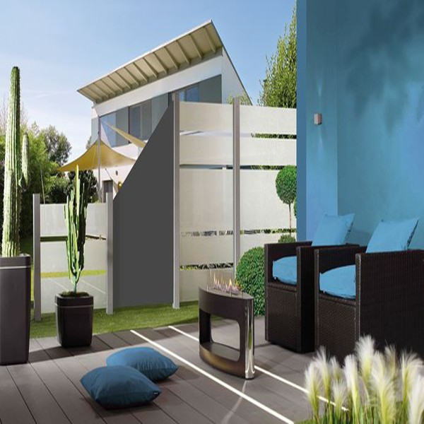 TraumGarten Sichtschutzzaun System Board Slot-Design Rechteck mit Gitter titangrau - 90 x 180 x 0,6 cm