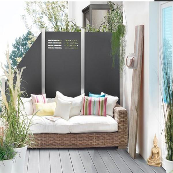 TraumGarten Sichtschutzzaun System Board Slot-Design Rechteck mit Gitter schiefer - 120 x 180 x 0,6 cm