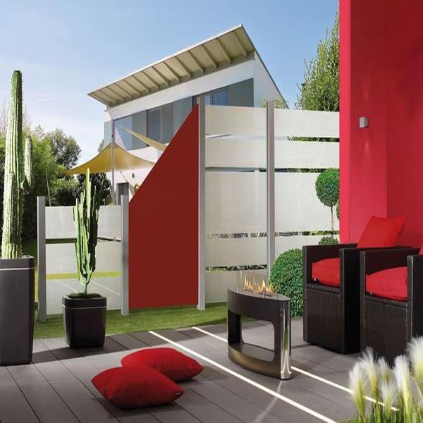 TraumGarten Sichtschutzzaun System Board Slot-Design Rechteck mit Gitter rot - 120 x 180 x 0,6 cm