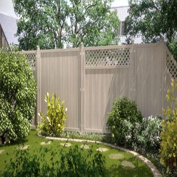 TraumGarten Sichtschutzzaun Kunststoff Longlife Riva Anschluss mit Gitter polareiche - 90 x 180 auf 90 cm