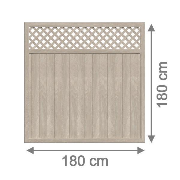TraumGarten Sichtschutzzaun Kunststoff Longlife Riva Rechteck mit Gitter polareiche - 180 x 180 cm