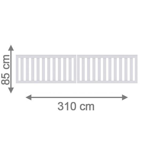 TraumGarten Gartentor Kunststoff Longlife Cleo Doppeltor weiß - 310 x 85 cm